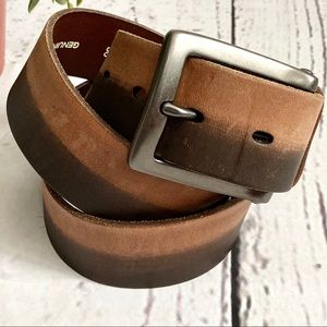 Fossil Mens Leather Two Tone Brown Belt SZ 36